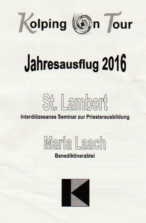Jahresausflug der Kolpingsfamilie nach Maria Laach und zum interdiözesanen Seminar St. Lambert